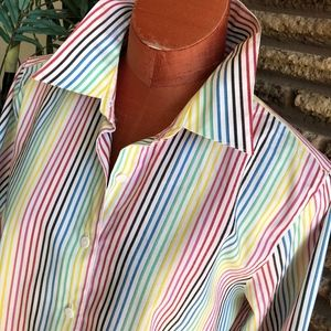 Foxcroft Plus Size Wrinkle Free Striped Shirt
